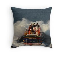 Bembridge Lifeboat Launch Throw Pillow