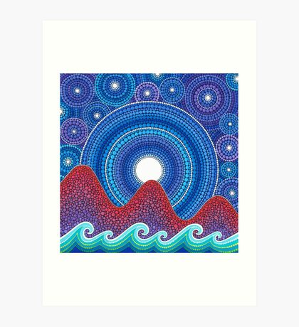 3 mountains and a moon Art Print