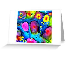 Fireworks Finale - Inks on Yupo Abstract Painting Greeting Card