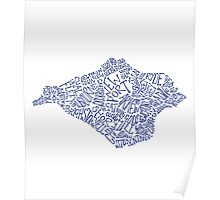 Navy Blue Isle of Wight map Poster