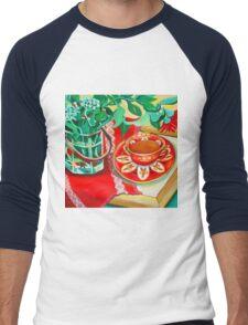 Red Teatime Men's Baseball ¾ T-Shirt