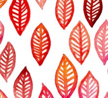 Watercolor Leaf Pattern in Autumn Colors Sticker