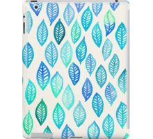 Watercolor Leaf Pattern in Blue & Turquoise iPad Case/Skin