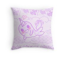Kawaii pixel Narwhal Throw Pillow