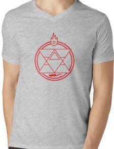Flame Transmutation Circle - On black Mens V-Neck T-Shirt