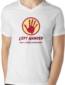Left Handed Super Power Mens V-Neck T-Shirt