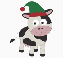 Cute Christmas Elf Cow  One Piece - Short Sleeve