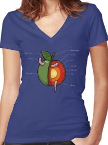 Apple Core Women's Fitted V-Neck T-Shirt