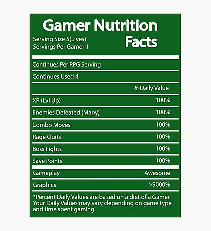 Gamer Nutrition Facts Photographic Print