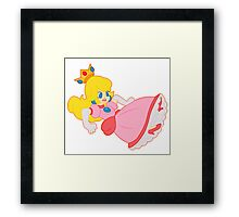 Princess Peach Falling Down Framed Print