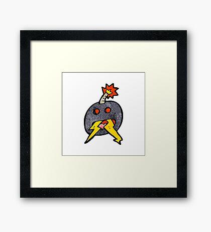 crazy cartoon bomb Framed Print