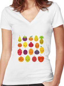 Happy Fruit Women's Fitted V-Neck T-Shirt