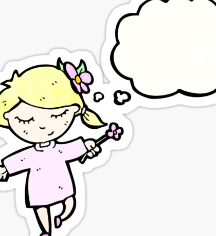 cartoon girl with flower Sticker