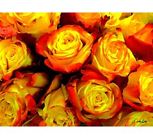 Painted Yellow Roses Photographic Print