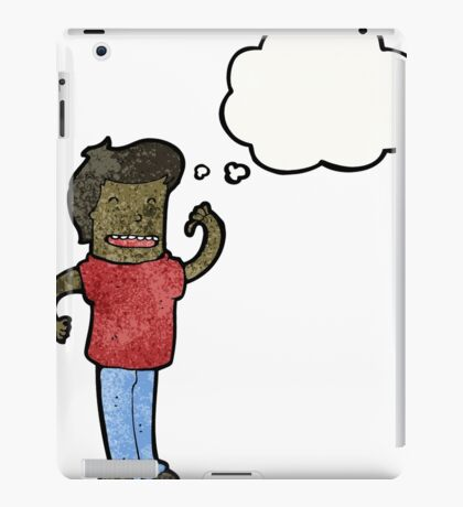 cartoon confident man with thought bubble iPad Case/Skin