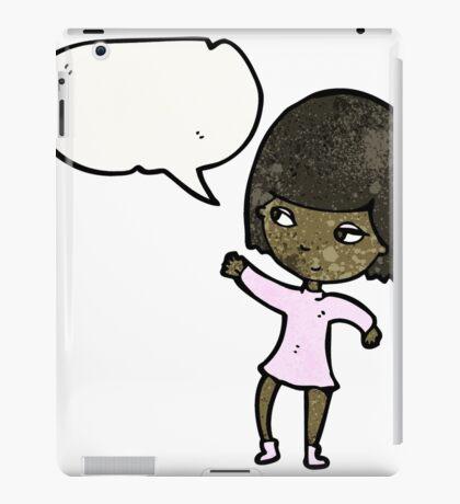 cartoon woman with speech bubble iPad Case/Skin
