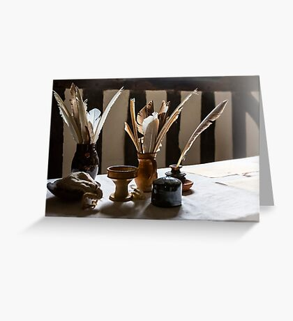Feather Quill and ink bottles Greeting Card
