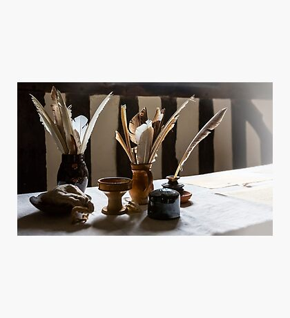 Feather Quill and ink bottles Photographic Print