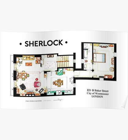 Floorplan of Sherlock Holmes apartment from BBCs Poster