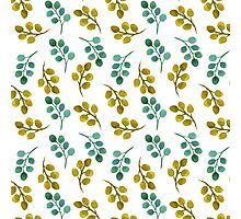 Watercolor leaves hand painted pattern. Photographic Print