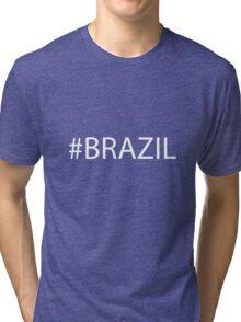 #Brazil White Tri-blend T-Shirt