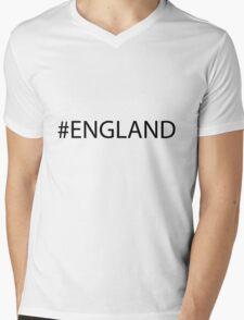 #England Black Mens V-Neck T-Shirt