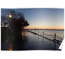 Wet Boardwalk - a Clear Morning After the Rain Poster