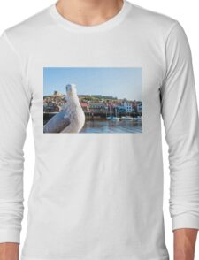 Scenic view of Whitby city and abbey with seagull  Long Sleeve T-Shirt