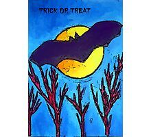 Halloween bat and moon trick or treat Photographic Print