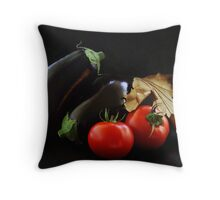 Eggplant and Tomato still life Throw Pillow