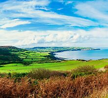 Scenic View over of Robin Hoods Bay in Ravenscar, North Yorkshire, England by Stanciuc