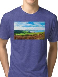 Scenic View over of Robin Hoods Bay in Ravenscar, North Yorkshire, England Tri-blend T-Shirt