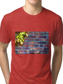 Autumn leaves against red brick wall, natural frame background Tri-blend T-Shirt