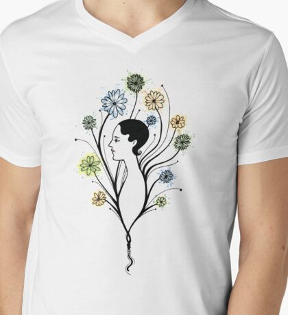 """Flora"", floral art, girl's profile, flowers, ink & watercolor Mens V-Neck T-Shirt"