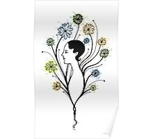 """Flora"", floral art, girl's profile, flowers, ink & watercolor Poster"