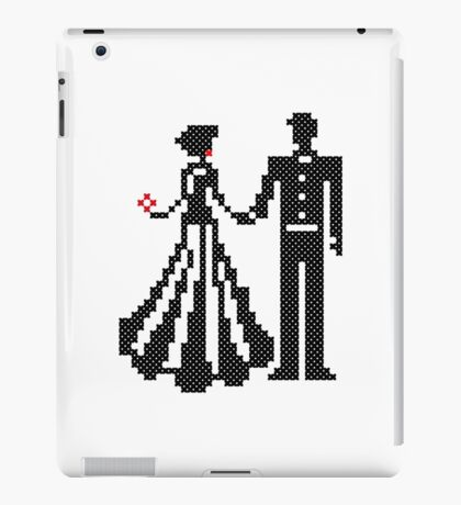 SILHOUETTES OF ELEGANT BRIDE AND GROOM CROSS-STITCH DESIGN iPad Case/Skin