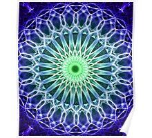 Mandala in dark blue and green tones Poster