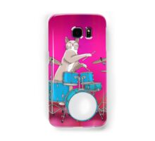 Cat Playing Drums - Pink Samsung Galaxy Case/Skin