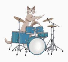 Cat Playing Drums - Pink Kids Tee