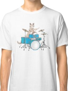 Cat Playing Drums - Pink Classic T-Shirt