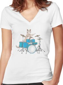Cat Playing Drums - Pink Women's Fitted V-Neck T-Shirt