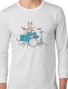 Cat Playing Drums - Pink Long Sleeve T-Shirt