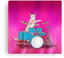 Cat Playing Drums - Pink Canvas Print