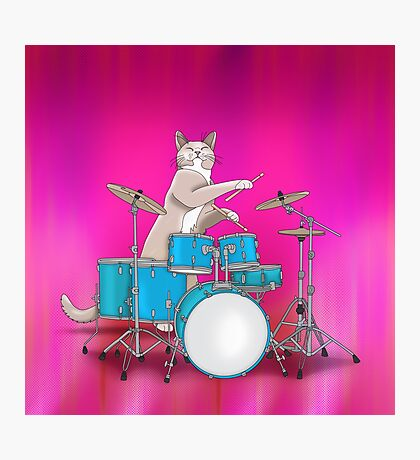 Cat Playing Drums - Pink Photographic Print