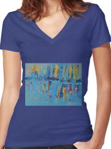 Blue Yellow Abstract Patterns Oil Artwork Painting Women's Fitted V-Neck T-Shirt