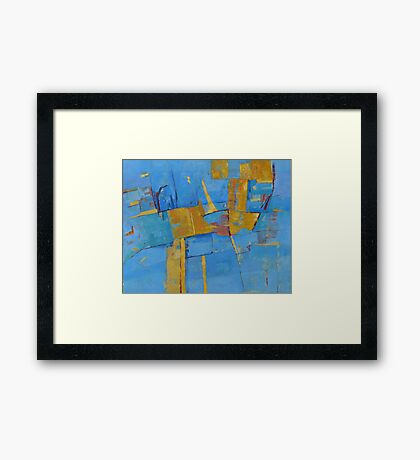 Abstract Artwork Blue Yellow Doodle Patterns Framed Print