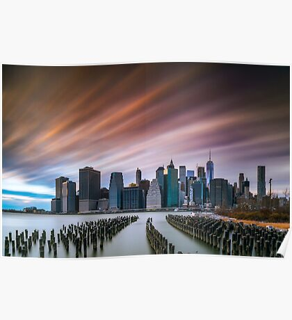 Sunset of Downtown from Brooklyn Marina Poster