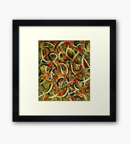 Pollock Abstract Shapes Pattern Lines Dots Framed Print