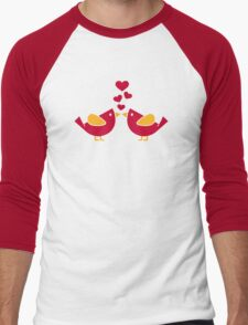 Birds love hearts Men's Baseball ¾ T-Shirt