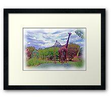 Giraffe in the Garden Framed Print